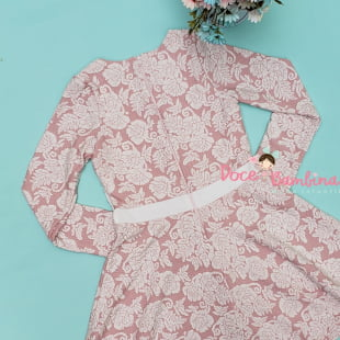 Vestido Petit Cherie Casual Malha Rosa com Perolas