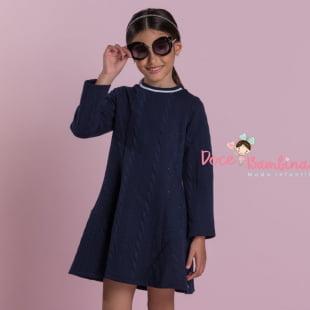 Vestido Petit Cherie Casual Malha Trancado Azul Marinho