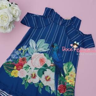 Vestido Petit Cherie Casual Trapézio Arara Azul