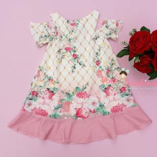 Vestido Petit Cherie Casual Trapézio Floral Babado