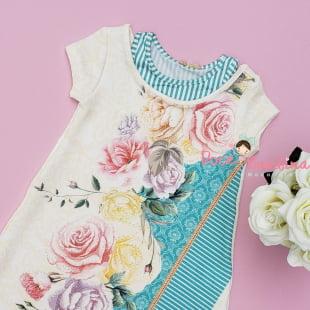 Vestido Petit Cherie Casual Trapézio Rosas e Listras