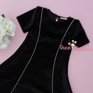 Vestido Petit Cherie Casual Velvet Preto Friso Prata