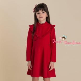 Vestido Petit Cherie Casual Vermelho Babado