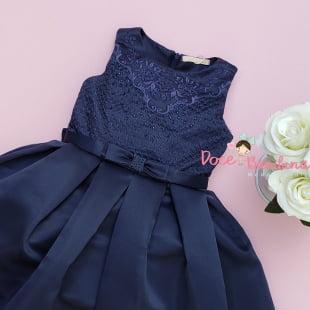 Vestido Petit Cherie de Festa Azul Marinho Bordado