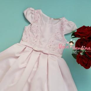 Vestido Petit Cherie de Festa Bordado Luxo Rosa Claro