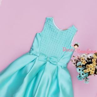 Vestido Petit Cherie de Festa Bordado Verde Tiffany