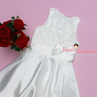 Vestido Petit Cherie de Festa Branco Bordado