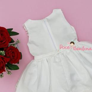 Vestido Petit Cherie de Festa Branco Bordado Encanto