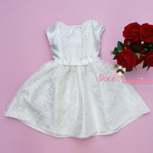 Vestido Petit Cherie de Festa Branco Renda Nobre e Pérolas