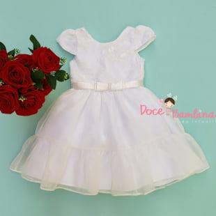 Vestido Petit Cherie de Festa Chiffon Branco Brilho