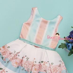 Vestido Petit Cherie de Festa Floral Listras Flúor