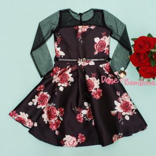 Vestido Petit Cherie de Festa Floral Preto Manga Longa Tule
