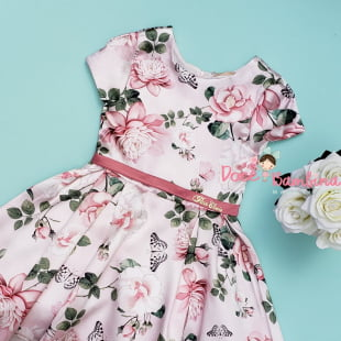 Vestido Petit Cherie de Festa Floral Rosa Jardim