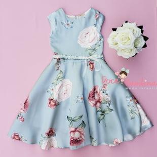 Vestido Petit Cherie de Festa Jardim Azul