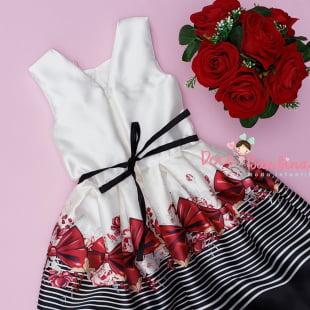 Vestido Petit Cherie de Festa Kids Bordado Pérolas Estampa Laços Vermelhos