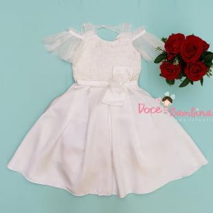 Vestido Petit Cherie de Festa kids Branco Luxo