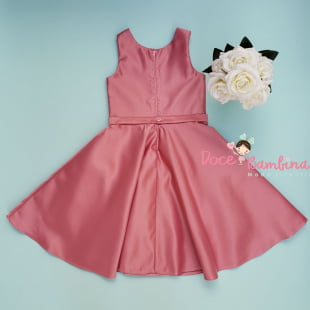 Vestido Petit Cherie de Festa Kids Rosa Luxo