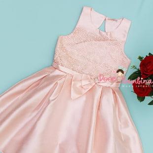 Vestido Petit Cherie de Festa Kids Rosa Sunshine com Renda