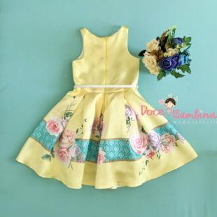 Vestido Petit Cherie de Festa Listra Floral Amarelo