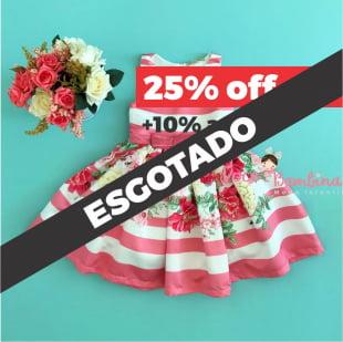 Vestido Petit Cherie de Festa Listra Floral Rosa