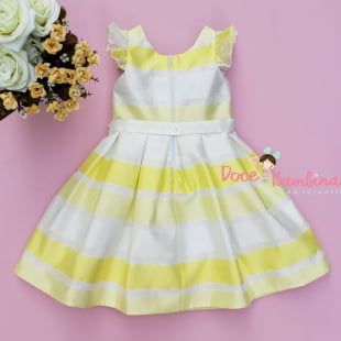 Vestido Petit Cherie de Festa Listras Amarelas Flúor