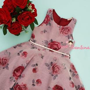 Vestido Petit Cherie de Festa Listras e Rosas Marsala
