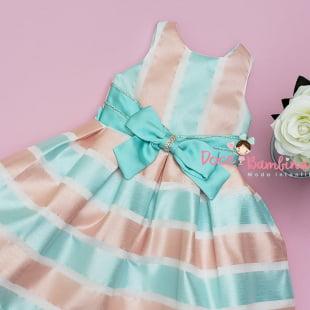Vestido Petit Cherie de Festa Listras Verde Tiffany