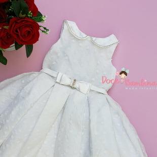Vestido Petit Cherie de Festa Off White Organza