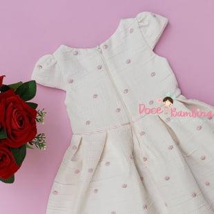 Vestido Petit Cherie de Festa Off White Poá Rosa