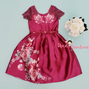 Vestido Petit Cherie de Festa Renda Floral Bordô