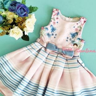 Vestido Petit Cherie de Festa Rosa Floral com Listra Azul
