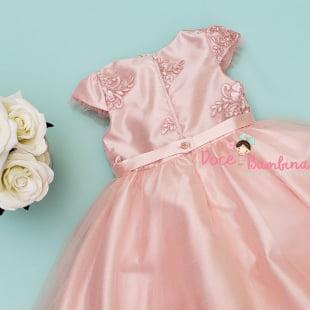 Vestido Petit Cherie de Festa Rosa Renda e Tule