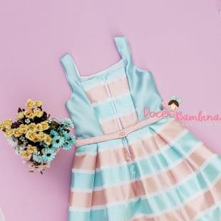Vestido Petit Cherie de Festa Verão Listras Fluor