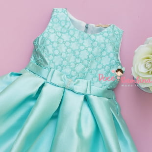 Vestido Petit Cherie de Festa Verde Tiffany Bordado e Strass