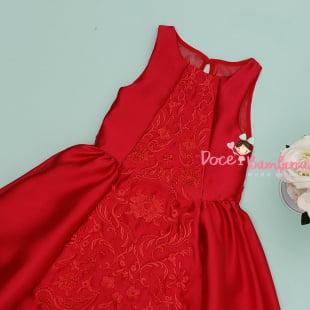 Vestido Petit Cherie de Festa Vermelho Bordado Luxo