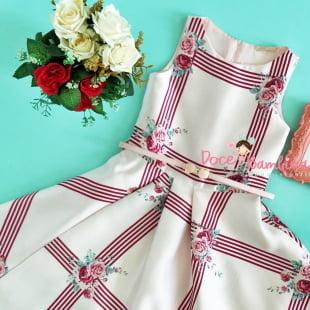 Vestido Petit Cherie Floral Rosa Listras Vermelhas