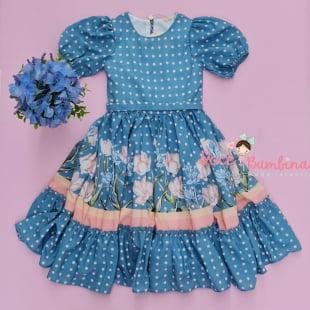 Vestido Petit Cherie Festa Poá e Flores