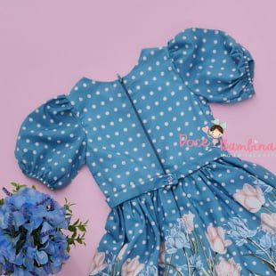 Vestido Petit Cherie de Festa Poá e Flores