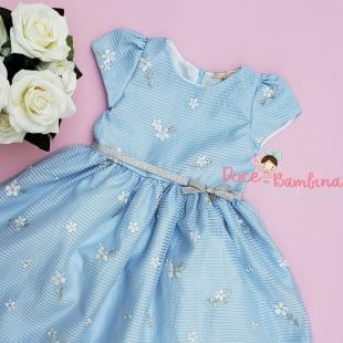 Vestido Petit Cherie de Festa Azul Bordado