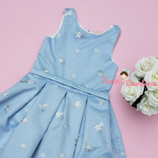 Vestido Petit Cherie de Festa kids Azul Bordado