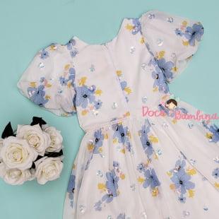 Vestido Petit Cherie de Festa Kids Floral Bordado