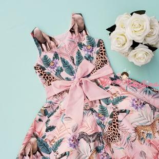 Vestido Petit Cherie de Festa Kids Safari Rosa