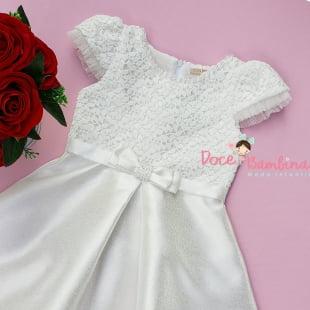 Vestido Petit Cherie de Festa Off white Renda