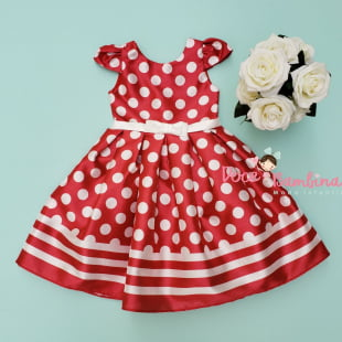 Vestido Petit Cherie de Festa Póa Vermelho