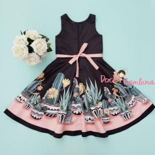 Vestido Petit Cherie de Festa Preto Cactus