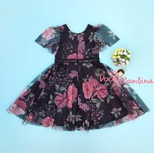 Vestido Petit Cherie de Festa Preto Floral