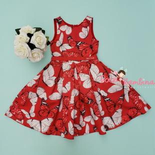 Vestido Petit Cherie de Festa Red Butterflies