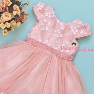 Vestido Petit Cherie de Festa Renda Nobre Rosa