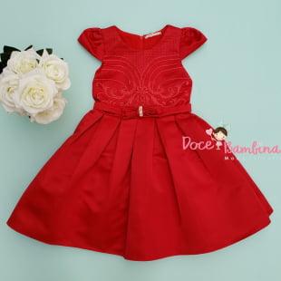 Vestido Petit Cherie de Festa Vermelho Bordado