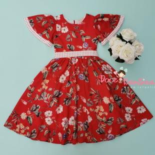 Vestido Petit Cherie de Festa Vermelho Floral